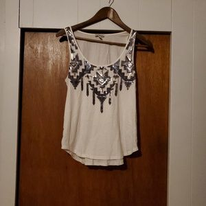 Express White and Sequin Tank Top